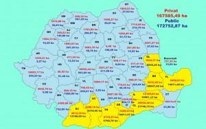 Situația terenurilor agricole în România conform datelor din anul 2011 si care sunt publicate pe site-ul  Agenției Domeniilor Statului. Infografie: Oana Pavelescu. (click pentru a mari imaginea)