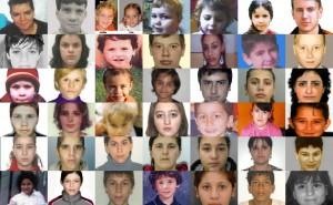 """Fotografii ale unor copii dispăruți. Unele imagini reproduc fizionomia prelucrată a persoanei respective, pentru a semăna cu cea de acum (la """"x"""" ani distanță de momentul răpirii). Sursa: copiidisparuti.ro"""