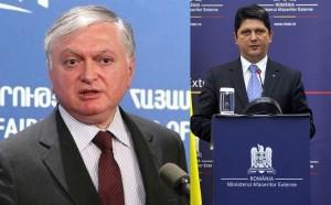 Ministerul de Externe al Armeniei, Eduard Nalbandian și ministrul de Externe al României, Titus corlățean. Foto: asbarez.com / mae.ro