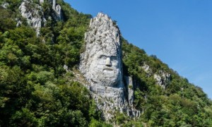 """Decebalus Rex: """"I took this photo in Orsova, Romania when I went back to see my family for the summer."""" The Statue is of the Dacian king, Decebalus is reputed to be the tallest rock sculpture in Europe and is located on the Danube, near the city of Orșova, Romania. Photograph: Vlad Victor Jiman/GuardianWitness"""