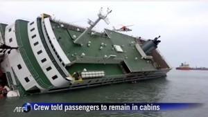 Nava Sewol se scufunda Foto: captură video Youtube