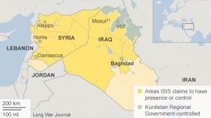 Unde se întinde Califatul - Teritoriul pe care ISIS pretinde că îl controlează Imagine: BBC.com