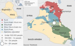 Cum sunt distribuite teritorial populațiile de musulmani șiiți și suniți în Irak Imagine: BBC.com
