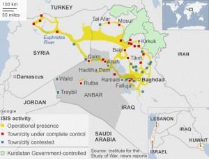 Orașele controlate de ISIS (cu roșu) și cele în care se duc bătălii cu militarii irakieni și sirieni (cu albastru) Imagine: BBC.com