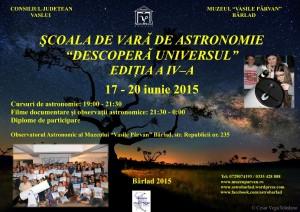 Afiș Școala de vară de astronomie Descoperă Universul!